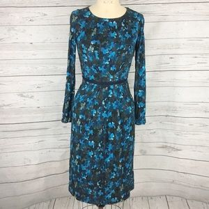 Boden floral blue long sleeve stretch dress
